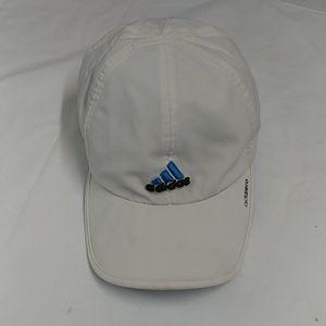 Adidas white baseball cap, w/Logo Blue bars